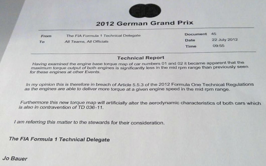 FIA Technical Report into Red Bull's engine maps