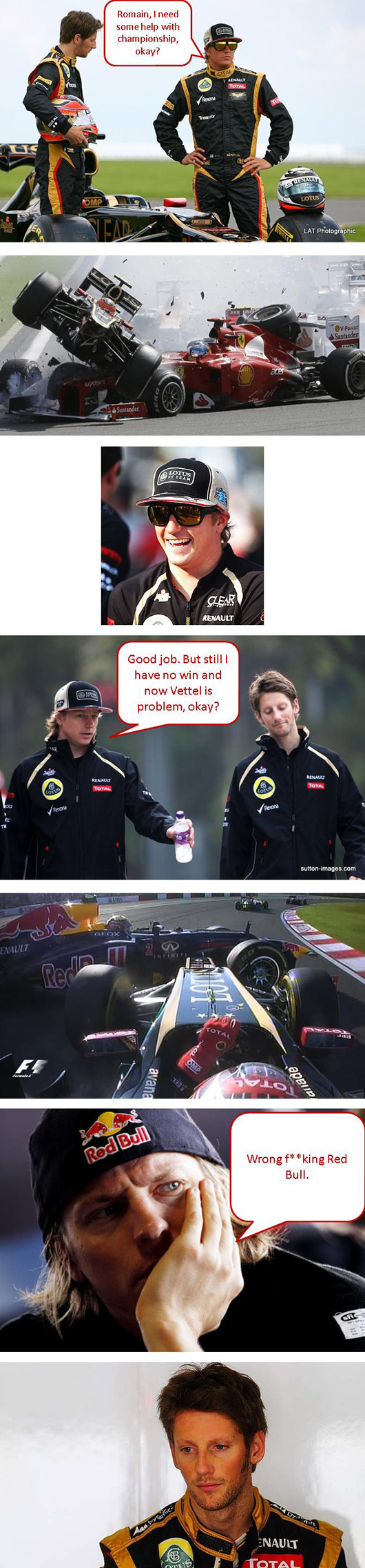 Kimi Raikkonen talks to Romain Grosjean about crash tactics