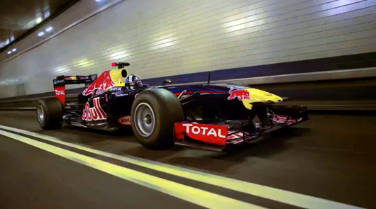 David Coulthard drives RB7 through Lincoln Tunnel