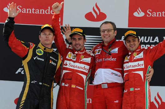 Kimi Raikkonen, Fernando Alonso, Stefano Domenicali, Felipe Massa
