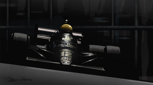 Ayrton Senna, Lotus 98T, illustration by Bruce Thomson