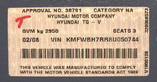 Hyundai tamper proof compliance label