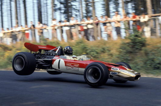 Graham Hill driving a Lotus 49B at the 1969 German Grand Prix