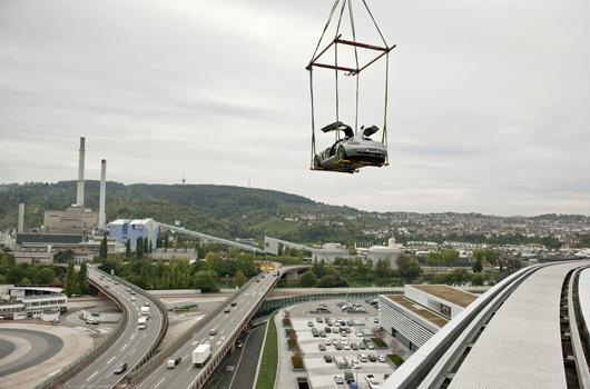 Mercedes-Benz Museum roof installation - SLS AMG Gullwing