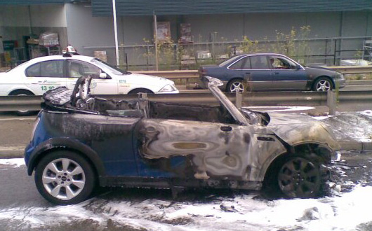 MINI Cooper S convertible catches fire in western Sydney