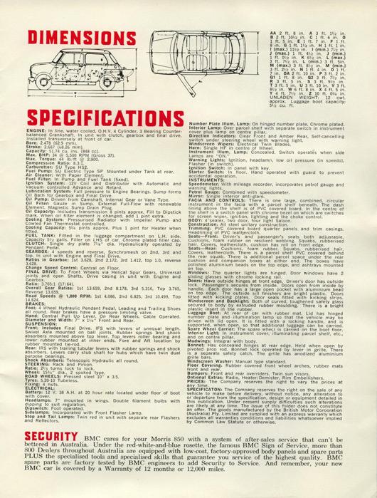 Australian Morris 850 brochure