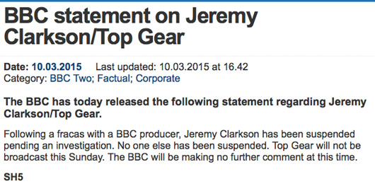 BBC statement on Jeremy Clarkson