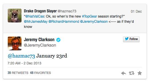 Top Gear, Series 21 tweet
