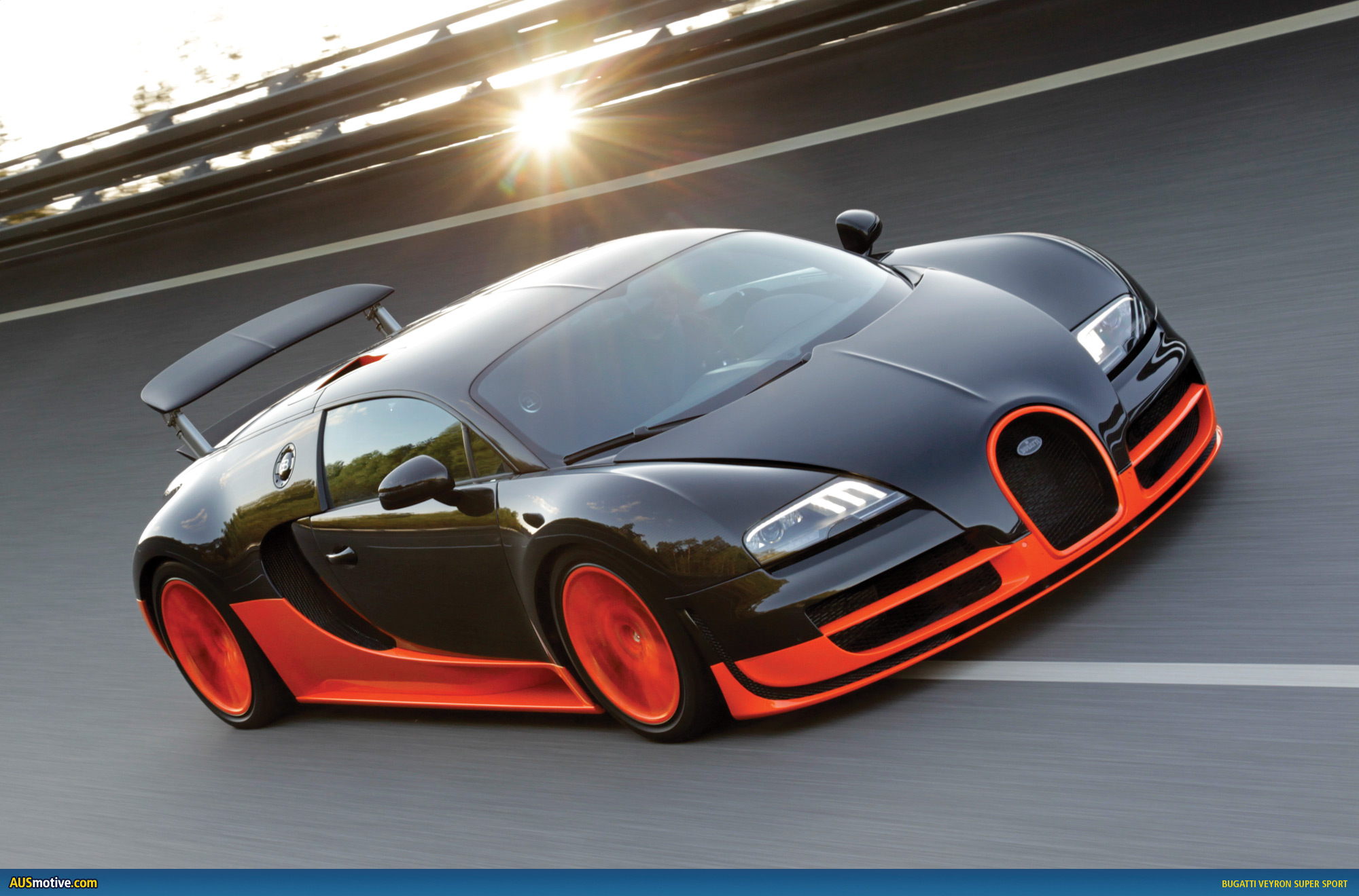 On 26 June 2010 this lairy orange and black Bugatti Veyron Super Sport