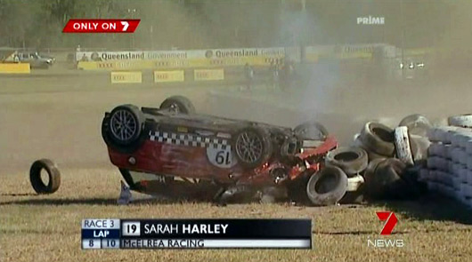 Sarah Harley's MINI Challenge racecar crashes into the tyre barrier