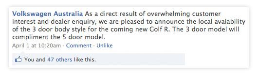 Volkswagen Australia - Facebook screen grab