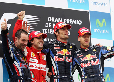 Mark Webber on the podium