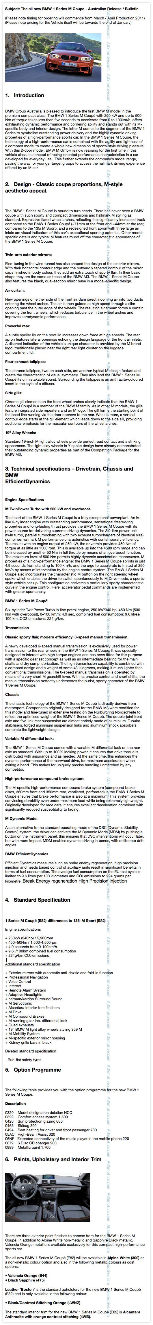 BMW 1M Coupe - Australian dealer bulletin