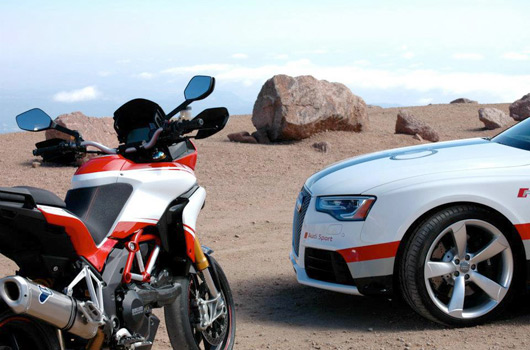 Audi RS5 and Ducati at 2012 Pikes Peak International Hill Climb