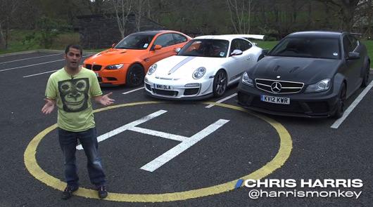Chris Harris drives BMW M3 GTS, Mercedes C63 AMG Black and Porsche GT3 RS 4 litre