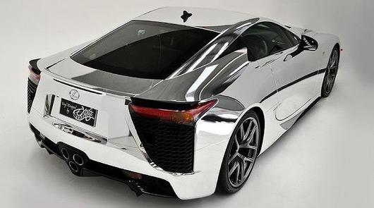 Lexus LFA with chrome wrap