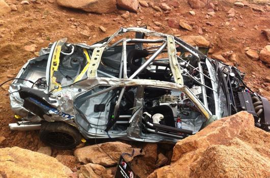 Jeremy Foley's crash at the 2012 Pikes Peak International Hill Climb