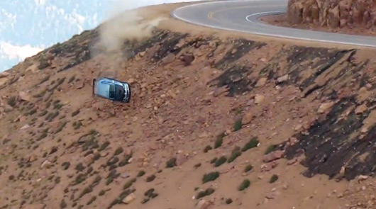 Jeremy Foley crashes out of 2012 Pikes Peak Hill Climb