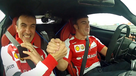 Fernando Alonso drives the LaFerrari around Fiorano
