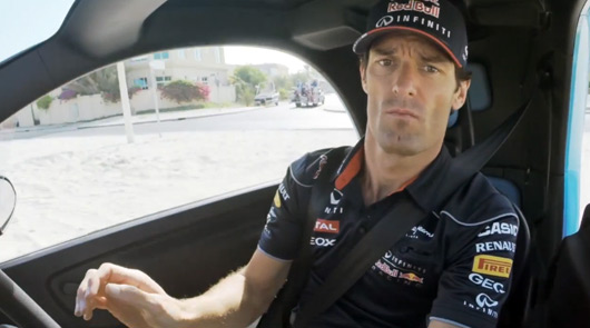 Mark Webber at the wheel of a Renault Twizy