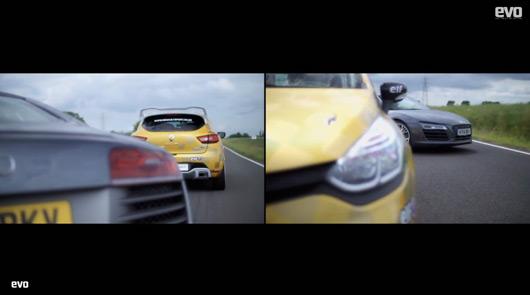 Audi R8 V10 plus v Renault Clio Cup racecar