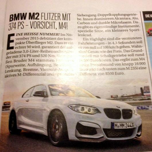 BMW M2 Autobild article