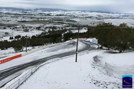Snow on Mount Panorama, Bathurst, July 2015