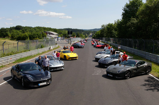 Ferrari F12 berlinetta gathering at the Nurburgring